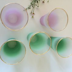 Vintage Blenko Frosted Glass Set Mix Match 1960s Mid-century Barware Green & Pink Frosted Ombre Drinking Glasses Retro Bar Cart Accessory by TizaVintage on Etsy https://www.etsy.com/listing/451944698/vintage-blenko-frosted-glass-set-mix