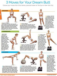 butt workout (three moves in three stages)  article: http://www.fitnessmagazine.com/workout/butt/exercises/get-a-firm-tight-butt-in-3-moves/  WELCOME HOME, DREAM BUTT! ;)