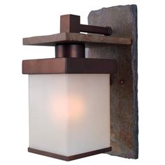 @Overstock - Natural slate and copper bronze finishes are the driving forces behind the Castellina line. The simple box shape and frosted shade are equally at home in craftsman, Asian-inspired and transitional home settings.  http://www.overstock.com/Home-Garden/Castellina-One-light-Large-Wall-Lantern/7582773/product.html?CID=214117 $139.99