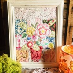 Wall art vase flowers vintage embroideried by roxycreations
