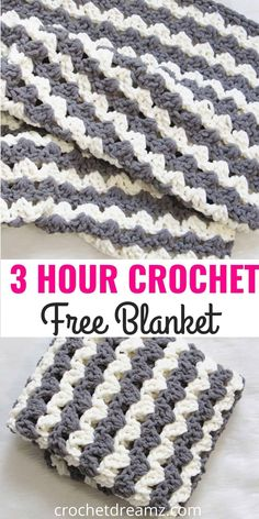 Free Crochet Blanket Pattern, 3 Hour Afghan - Crochet Dreamz, Did you ever imagine you could make a blanket in less than 3 hours? Then try this free crochet afghan pattern designed with the squishy Bernat Blanket. Crochet Afghans, Crochet Baby Blanket Free Pattern, Easy Crochet Blanket, Crochet Yarn, Blanket Yarn, Afghan Blanket, Baby Afghans, Free Easy Crochet Patterns, Beginner Crochet Blankets