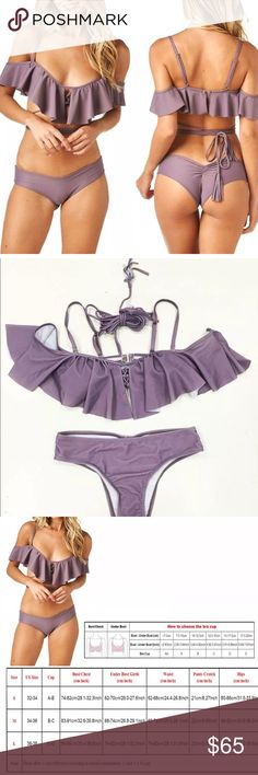 ⛱SALE Lavender Daisy • Flouncy Tassel Tie Bikini • Lavender Daisy • Flounce Bikini / Color is a muted shade of purple. Available in Small, Medium + Large • Also available in Black in Separate Listing • Flouncy ruffled top • Adjustable straps • Tassel ties for midsection • Minimal coverage shirred back bottoms • Size Chart for Reference • Brand New/untagged/from maker. 2017 Trend • Spring Summer / Festival /Boho chic / Sexy Swimsuit 5 Star Rated! Super Cute!⛱Swim Sale! 2/$35 each. 3/$30 each…