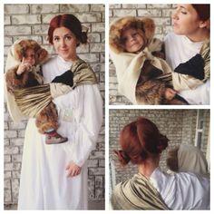 Princess Leia and Ewok // #sakurabloom #babywearing #halloween