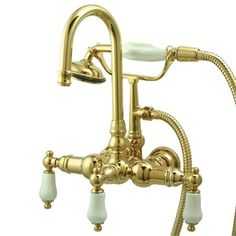 """Kingston Brass Vintage 3-3/8"""" Wall Mount Clawfoot Tub Filler with Hand Shower"""