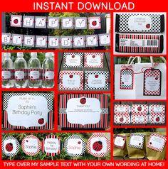 Printable Ladybug Birthday Invitation & Party Decorations