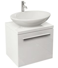 Pura Bloque 470mm Wall Hung Single Drawer White Unit And Worktop