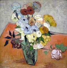 """""""Roses et Anémones"""" Auvers-sur-Oise 1890 par Vincent Van Gogh (1853-1890) @MuseeOrsay Paris"""