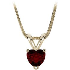 7mm Garnet Heart Shape Solitaire Gemstone Pendant Necklace in 18k... ($459) ❤ liked on Polyvore featuring jewelry, necklaces, gold pendant necklace, heart chain necklace, gold chain necklace, chain necklace and heart pendant necklace