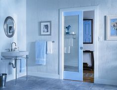 Glass mirror bathroom sliding doors
