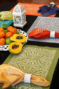 How to Stencil: DIY Batik Tribal Place Mats with Discharge Paste – Royal Design Studio Stencils Stencil Fabric, Stencil Diy, Stencil Patterns, Fabric Painting, Fabric Art, Fabric Crafts, Stenciling, Bird Stencil, Damask Stencil
