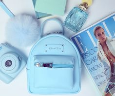 Blue bag, instax mini 8 on We Heart It Girly Backpacks, Cute Mini Backpacks, Stylish Backpacks, Cute Purses, Purses And Bags, Grafea Backpack, Guess Backpack, Mini Mochila, Diy Clothes And Shoes