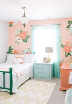 Design Loves Detail (House of Turquoise) I thought this perfectly sweet girl's room by Mollie of Design Loves Detail was a great way to kick off Valentine's Day weekend! Isn't the gorgeous floral wall a total showstopper? She wanted to use Modern Girls Rooms, Teenage Girl Bedrooms, Little Girl Rooms, Bedroom Girls, Childrens Bedroom, Girl Bedroom Paint, Colorful Girls Room, Girls Flower Bedroom, Mint Girls Room