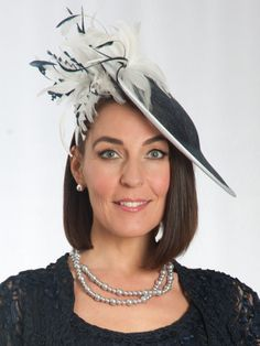 Navy/Ivory Feathers Mid Hatinator Chesca Mother of the Bride Hats and Fascinators