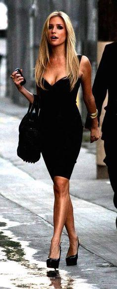 street style Kristin Cavallari black dress