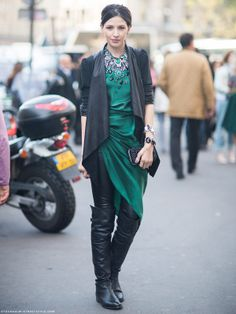 emerald with leather and jewel details Twirling Clare
