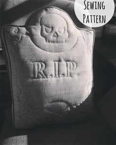 Perfect Halloween DIY decoration! I want to sew a whole graveyard full of tombstones that say different things! Tombstone Pillow PDF Sewing Pattern // Creepy Pillow pdf Pattern // RIP Pillow Skull DIY // Quilted Skull Gravestone Pillow