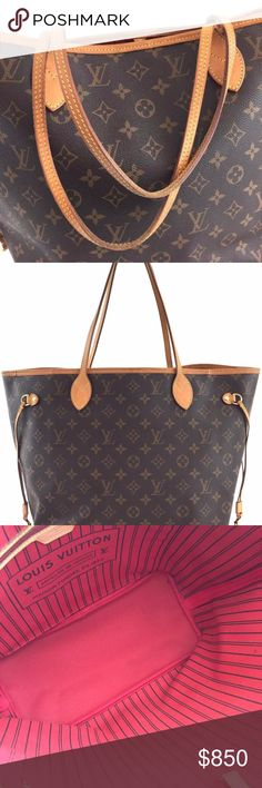 """Louis Vuitton #13258 New Model Neverfull Mm Measurements: 12.5""""L x 11.5""""H x 6.5""""W  Sku#: 13258  Description:  [$$$]Handle Drop: 8.5"""" [$$$]Estimated Value: $1370 [$$$]Details: Bag is in very good to excellent condition. Canvas has minor wear and creasing. Leather has wear, marks, lights scuffing, and patina. Creasing to handles and drawstrings. Top trim have rubbing and one small crack. Interior has very minor wear and marks with slight storage smell. Hardware has very minor wear and…"""