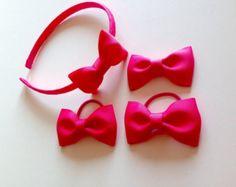 Narrow headband / alice band  toddler hair bows by Bowtifulbyamy
