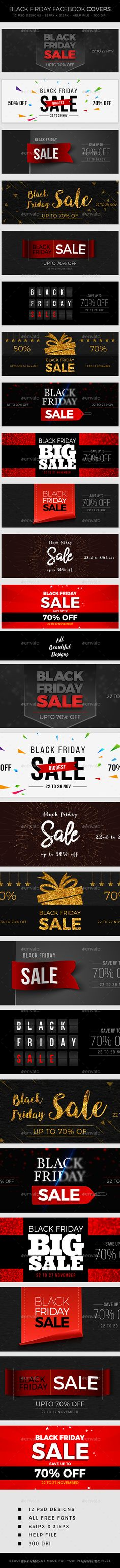 Black Friday Sale Facebook Cover Templates PSD