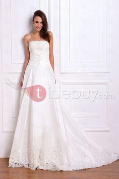Glamorous A-line Strapless Floor-Length Chapel Lace Embellishing Plus Size Renata's Wedding Dress, Lace