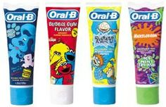 Oral-B kids' toothpastes from the late 1990s to early 2000s.