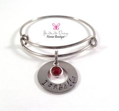 Hand Stamped Name Birthstone Crystal Personalized by XiomaBoutique