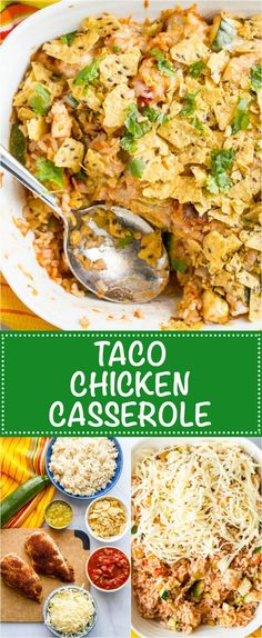 Healthy taco chicken casserole with brown rice is an easy weeknight dinner with a cheese and crunchy tortilla chip topping! | www.familyfoodonthetable.com