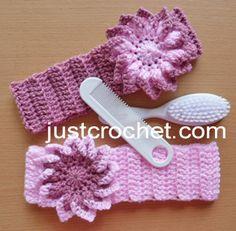 Free baby crochet pattern flowered headband usa