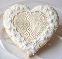 ♔ Heart lace cookie