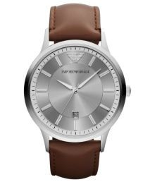Emporio Armani Classic Renato Leather Strap Gents Watch Retro and refined, the classic style features a brown leather strap and a stainless steel case with a warm grey sunray dial. Emporio Armani, Armani Men, Giorgio Armani, Best Watches For Men, Cool Watches, Cheap Watches, Affordable Watches, Popular Watches, Casual Watches