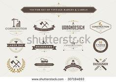 Set of vintage  designer badges and labels
