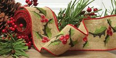 Check out the deal on Burlap Embroidered Holly and Sequence Wired Ribbon 4 Inch x 5 Yards at Battery Operated Candles