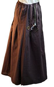 Steampunk-Victorian-Medieval-Larp-cosplay-scifi-BROWN-COTTON-PANEL-SKIRT-Costume