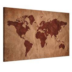 Canvas Prints READY TO HANG Wall Art Painting-Abstract Retro World Map Framed #RainQueenCanvasPrints #Vintage