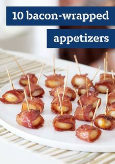 10 Bacon-Wrapped Appetizers — Fruits, veggies, cheese, seafood, and even breadsticks get wrapped in a crispy, smoky shell in these hot appetizer and snack recipes wrapped up in bacon.