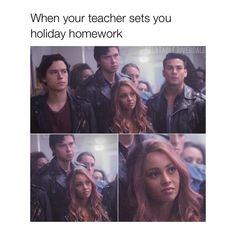 "1,701 Likes, 4 Comments - Riverdale Memes ✨ (@relatable.riverdale) on Instagram: ""Holiday Homework is a form of torture - - - - #riverdale #archie #archiecomics #bettycooper…"""