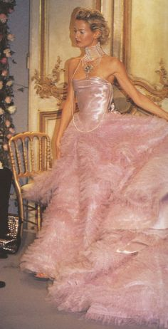 pink satin gown / John Galliano's premiere for Dior