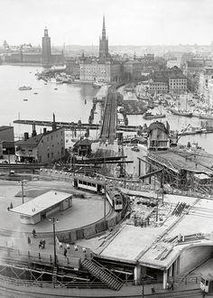 Slussen 1932 Stockholm, Sweden, Paris Skyline, Travel, Vintage, Viajes, Destinations, Traveling, Vintage Comics
