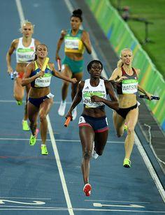 Christine Ohuruogu of Great Britain crosses the line to win bronze in the…