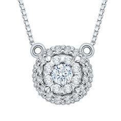 14K White Gold 1/3 Ct Diamond Lecirque Fashion Pendant - Shah Luxury