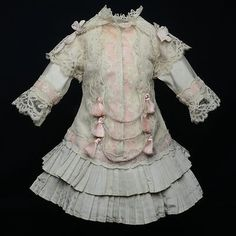 """ANTIQUE FRENCH SILK AND LACE DRESS FOR JUMEAU BRU STEINER 45-47CM 17,7-18,5""""   eBay"""