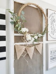 How to transform hula hoops into dreamy decorative wreaths! hula hoop decorate diy decoration wreath nature The decoration of the house is like an exhibition space that reveals our. Handmade Home Decor, Diy Home Decor, Decor Crafts, Embroidery Hoop Decor, Diy Embroidery, Large Embroidery Hoop, Embroidery Designs, Deco Wreaths, Deco Boheme
