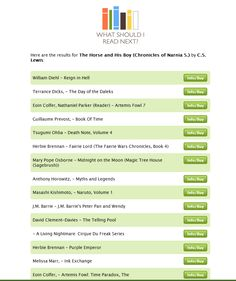 """""""What Should I Read Next""""...look at some of the results that popped up..."""