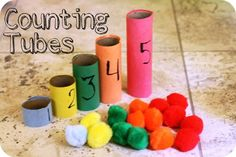 Counting tubes: toilet paper rolls with Pom poms to make tubes to Patrice counting, coloring matching, number recognition. Using this with my kids! Montessori Math, Homeschool Math, Preschool Learning, Kindergarten Math, Early Learning, Preschool Activities, Kids Learning, Teaching, Space Activities