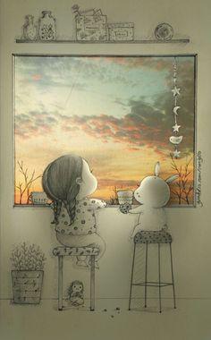 """아름다운 하늘을 볼 때 혼자가 아님을 감사하게 느끼게 되는 순간은 말이야. 너와 함께함을 소중하게 느끼게 되는 순간이기도해.. There""""s a moment I become thankful because I am not alone.. It""""s so precious when I can see the beautiful sky with you.."""