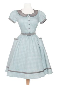 Dee Dee Dress in Grey and Baby Blue Gingham
