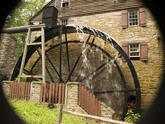 Operating grist mill at the Susquehanna State Park in Rock Run, Maryland.
