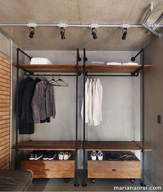 Nice 37 Attractive Wardrobe Design Ideas That You Can Try In Your Home. # Nice 37 Attractive Wardrobe Design Ideas That You Can Try In Your Home. Open Wardrobe, Diy Wardrobe, Wardrobe Design, Industrial Closet, Industrial Interior Design, Industrial Interiors, Industrial Furniture, Vintage Industrial, Industrial Style