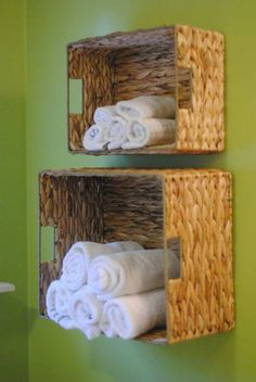Build shelves yourself: 73 great examples and smart ideas- Regale selber bauen: 73 tolle Beispiele und pfiffige Ideen Make braided boxes as a shelf yourself – great idea for a small bathroom or the hallway - Towel Storage, Diy Storage, Storage Ideas, Bathroom Storage, Small Storage, Storage Solutions, Diy Bathroom, Paper Storage, Bathroom Designs