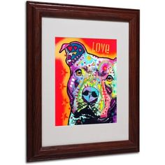 Trademark Fine Art Thoughtful Pitbull Canvas Art by Dean Russo, Wood Frame, Size: 11 x 14, Multicolor